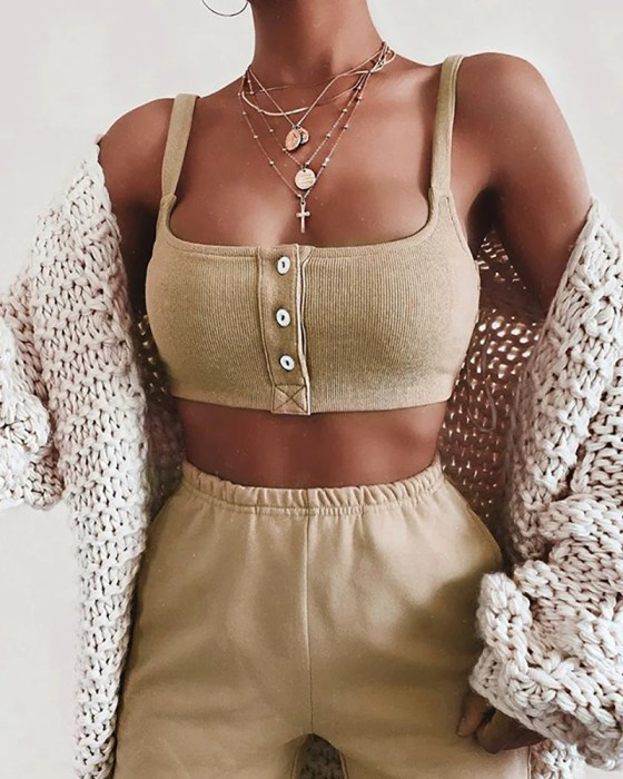 Solid Spaghetti Strap Buttoned Crop Tank & Pants Sets 4