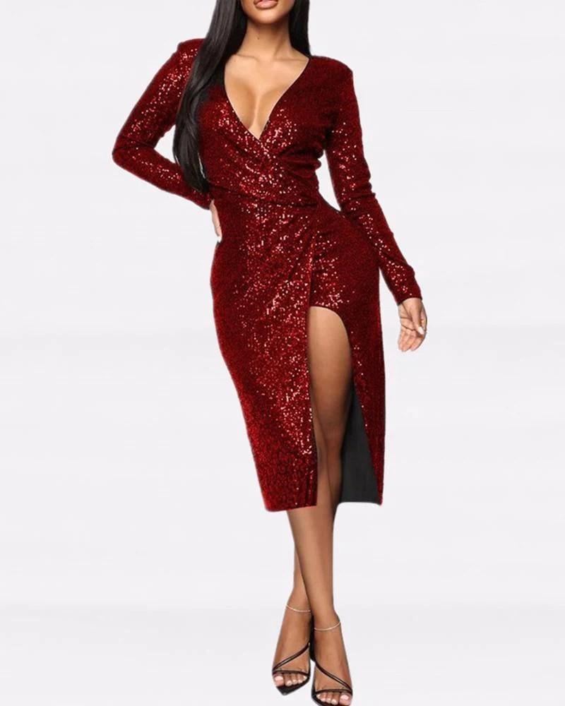 Side Slit Zipper Sequined Dress 2