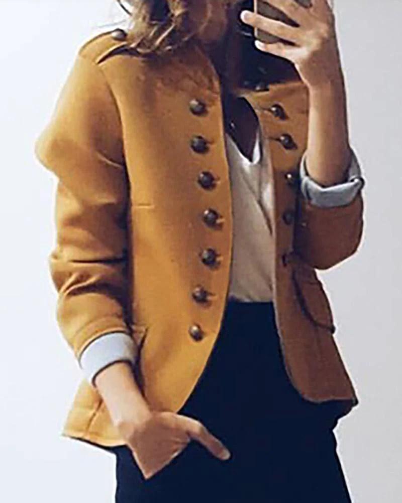 Casual Long Sleeve Button Blazer Coat 10