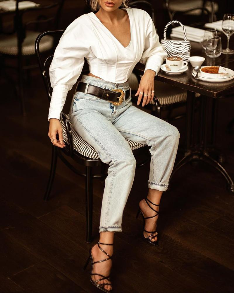 Solid  V-Neck Tight Waist Blouse