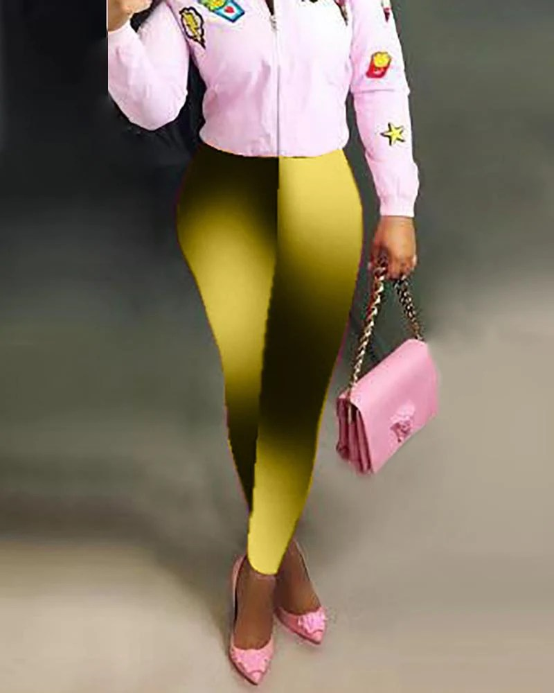 High Waist Gradient Color Pants