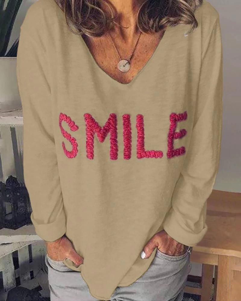 V-Neck Long Sleeve Letter Embroidery T-shirt