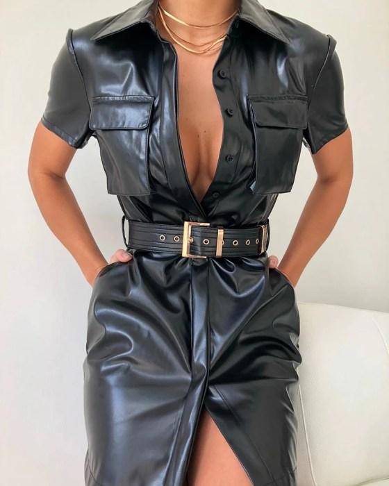 Solid Turn-down Collar Pocket Design PU Shirt Dress 25