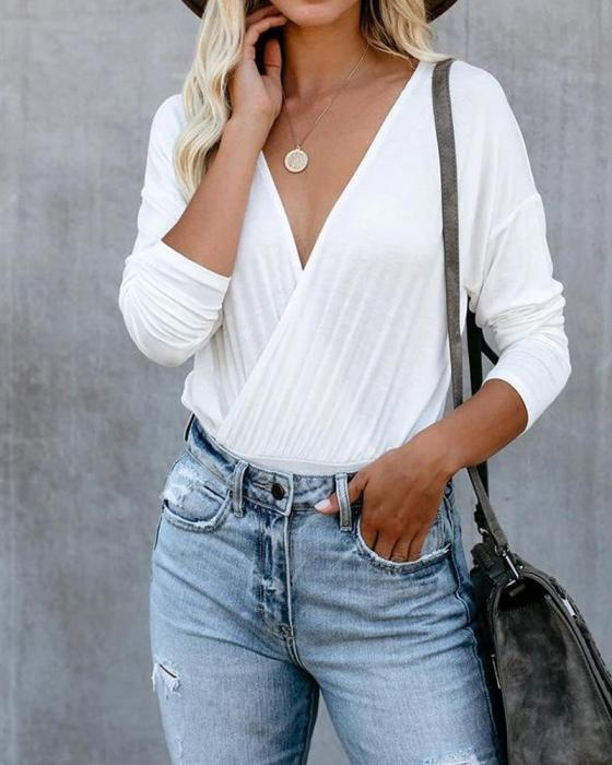 Solid V Neck Long Sleeve Top 6