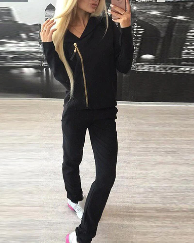 Solid Hooded Zip Front Tracksuit