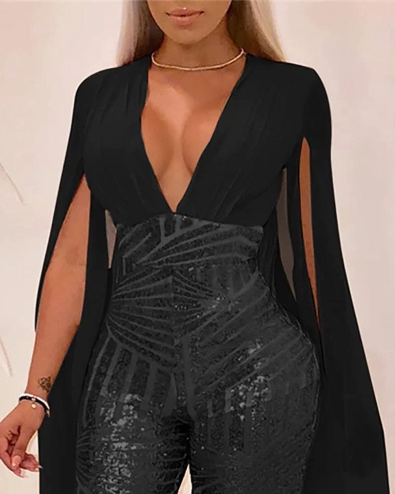 Shiny Sequins Cloak sleeve Jumpsuits