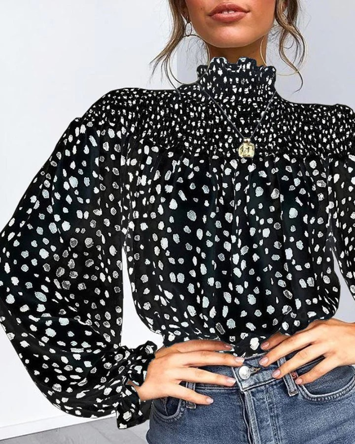 Leopard Print Shirring Neck Lantern Sleeve Blouse