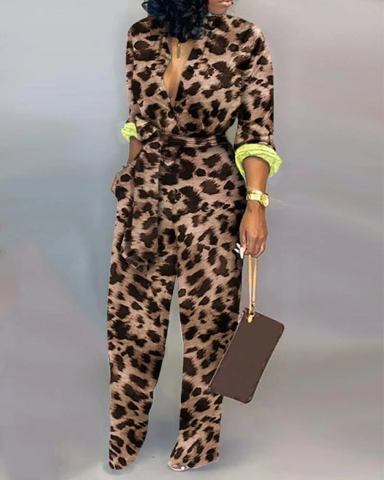 Leopard Long Sleeve Knotted Jumpsuit 4