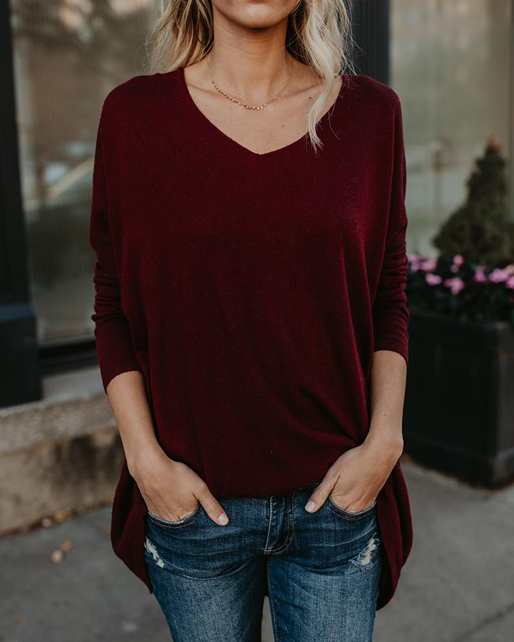 Solid V Neck Long Sleeve Longline Blouse 1