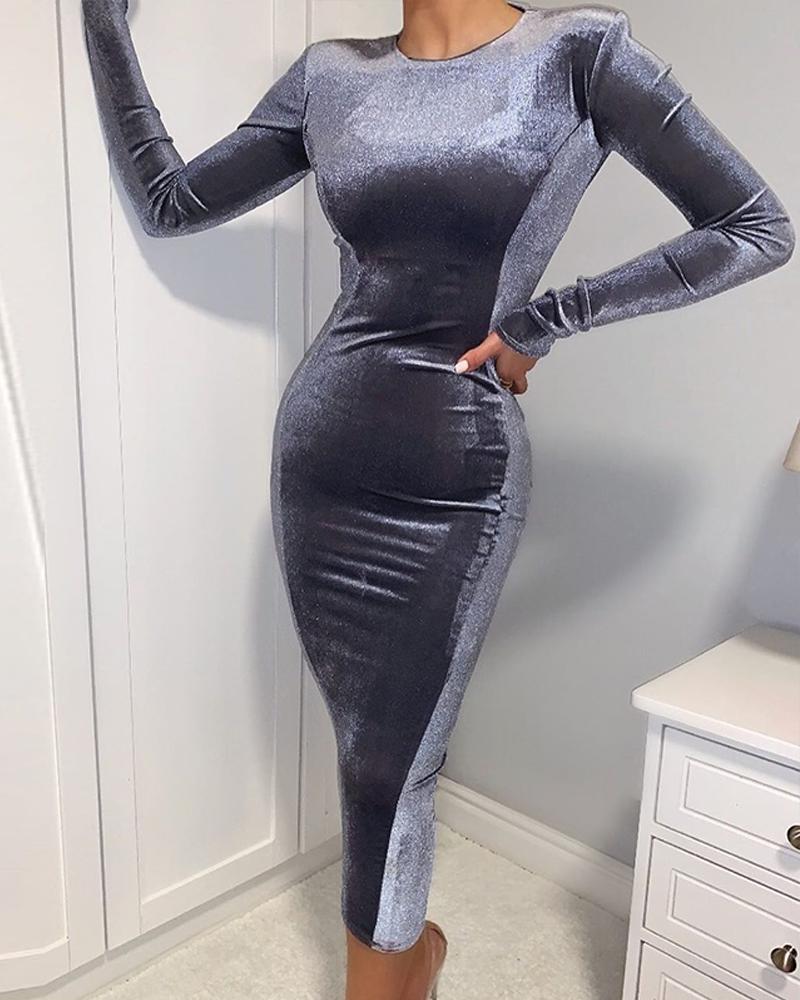 Solid Velvet Bodycon Midi Dress