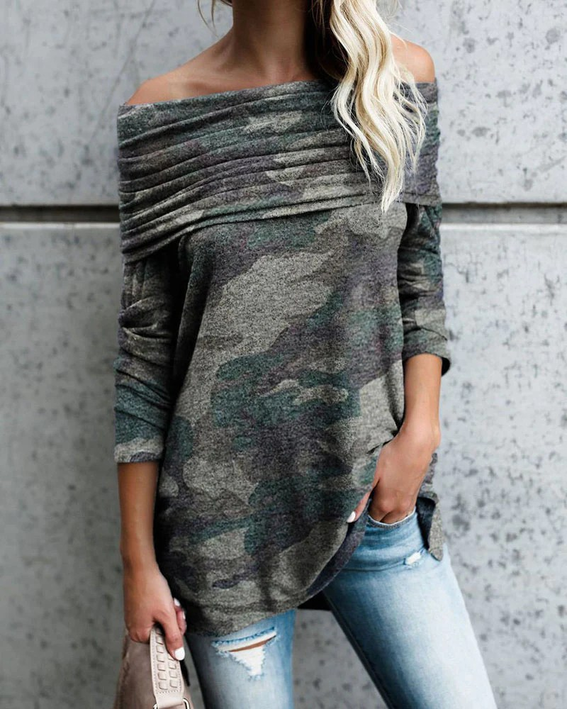 Off Shoulder Camouflage Print Ruched Casual Blouse 8