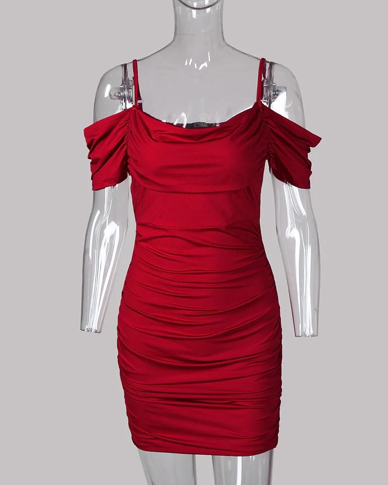 Cold Shoulder Bodycon Mini Cami Dress