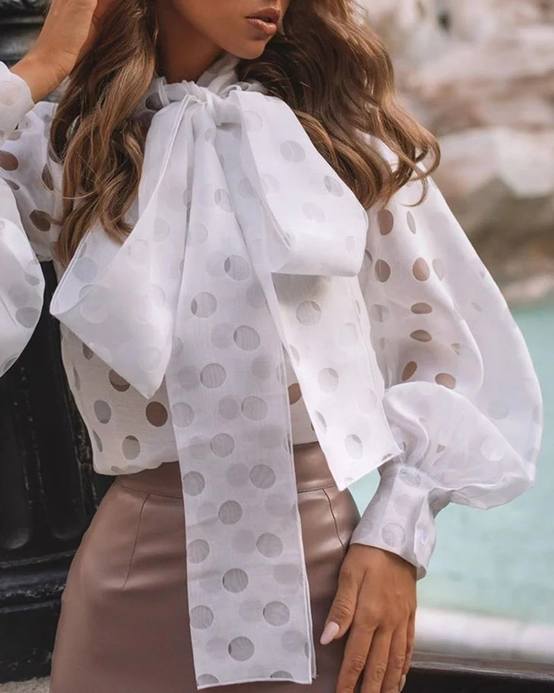 Dot Hollow Out Lantern Sleeve Knotted Blouse