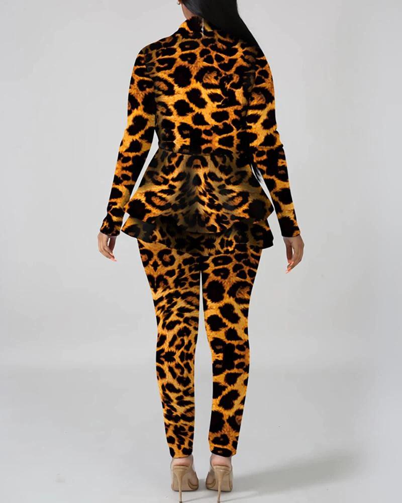 V-Neck Layered Ruffles Print Long Sleeve Blazer & Pants Sets
