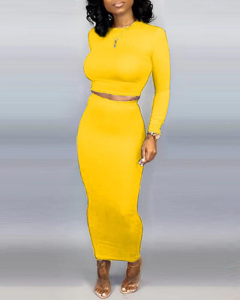 Solid Round Neck Crop Top & Skirt Sets