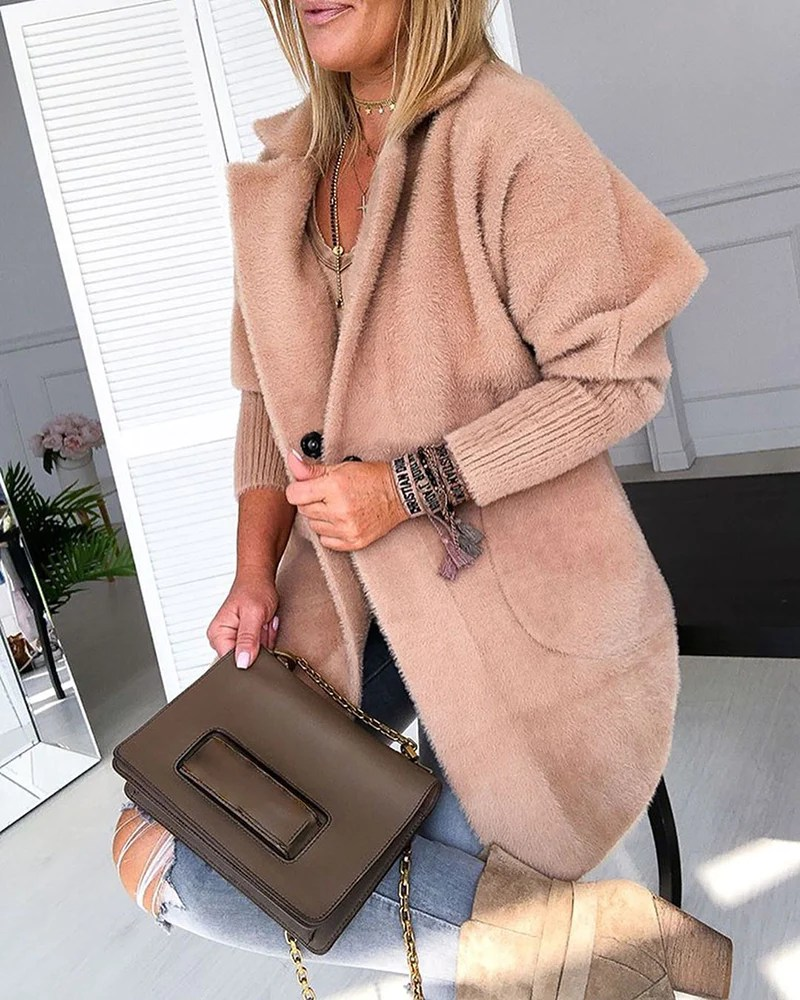 Warm Khaki Solid Fluffy Open Front Long Coat 6
