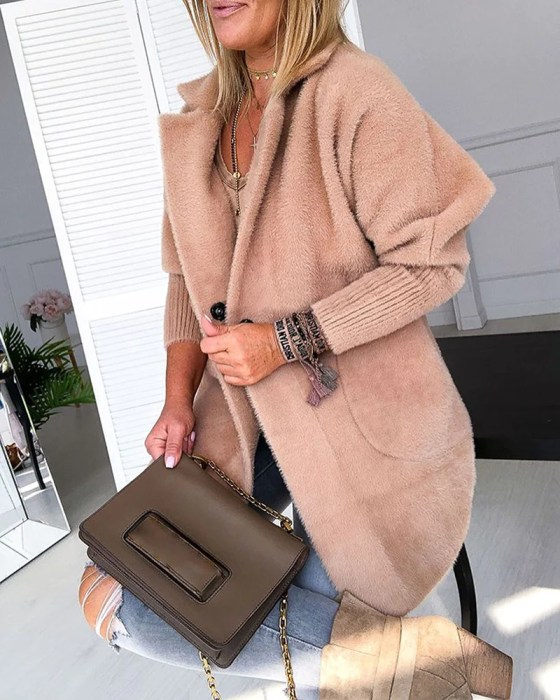 Warm Khaki Solid Fluffy Open Front Long Coat 1