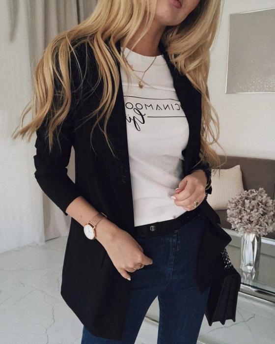 Solid Shawl Collar Single Button Blazer Coat 7