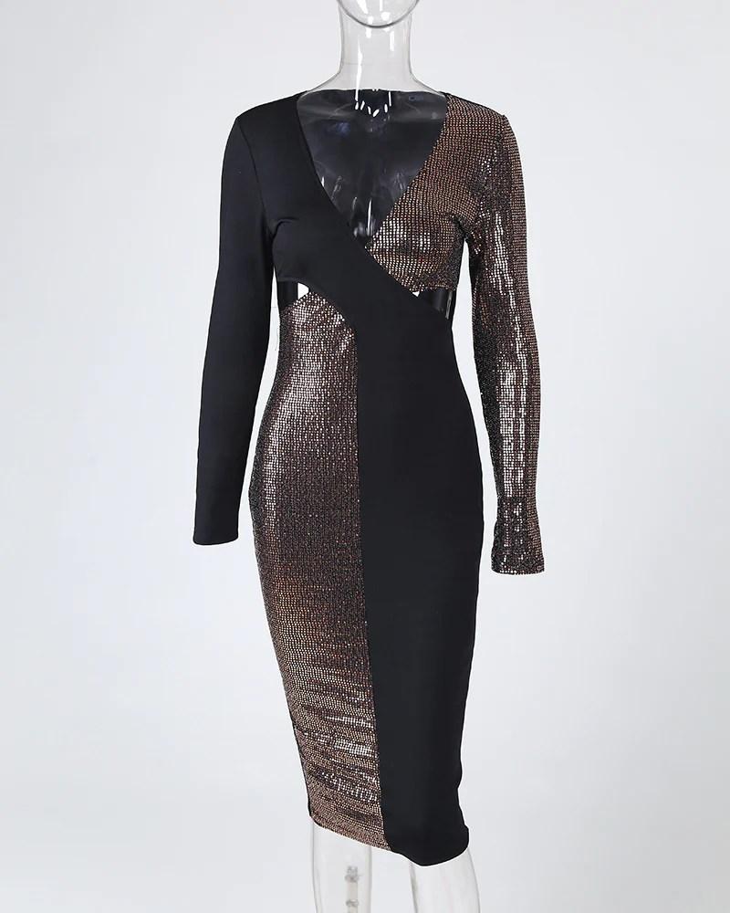 Plunge Colorblock Patchwork Bodycon Dress