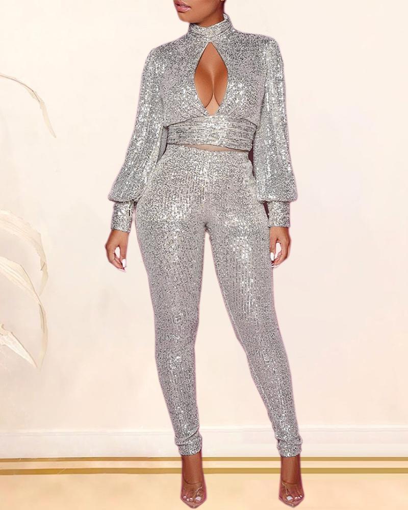 Sequins Backless Cut Out Chest Top & Pants Sets 5