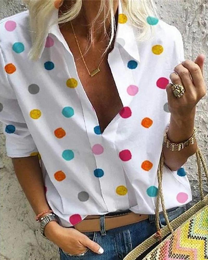 Colorful Dot Long Sleeve Casual Shirt 2