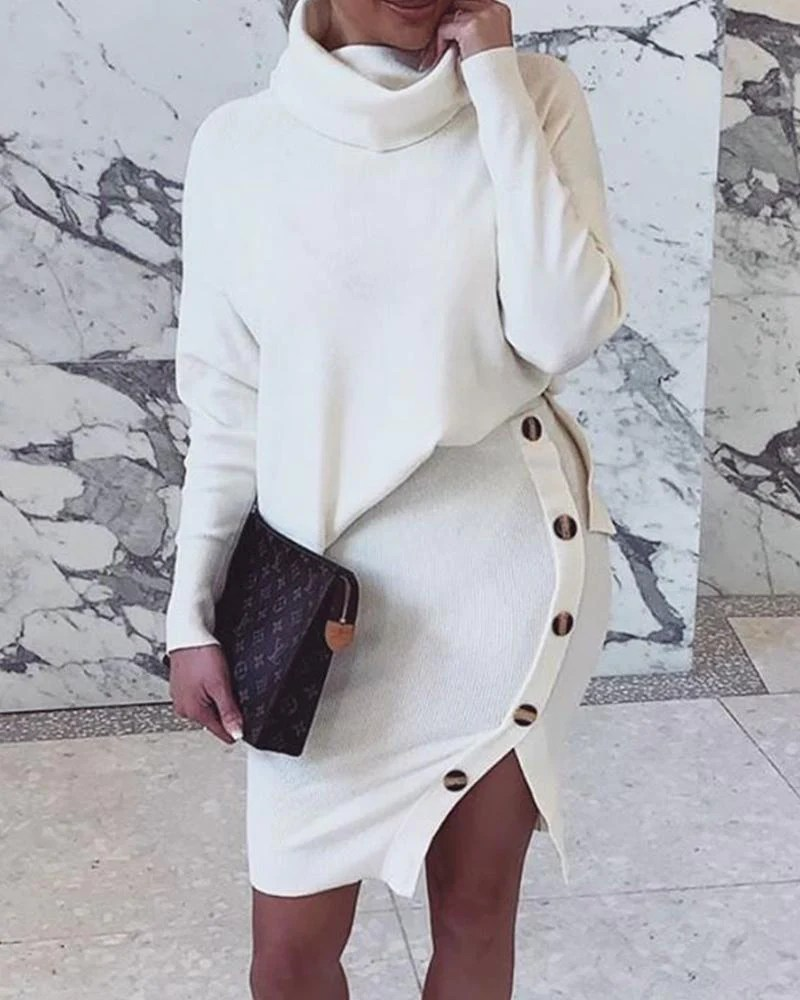 Solid Two Piece Sweater Dress 10