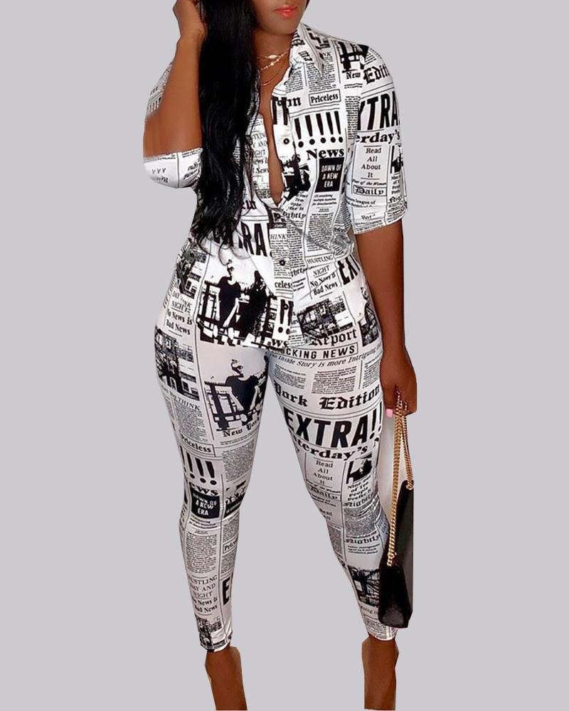 Newspaper Print Buttoned Shirt & Pant Sets 1
