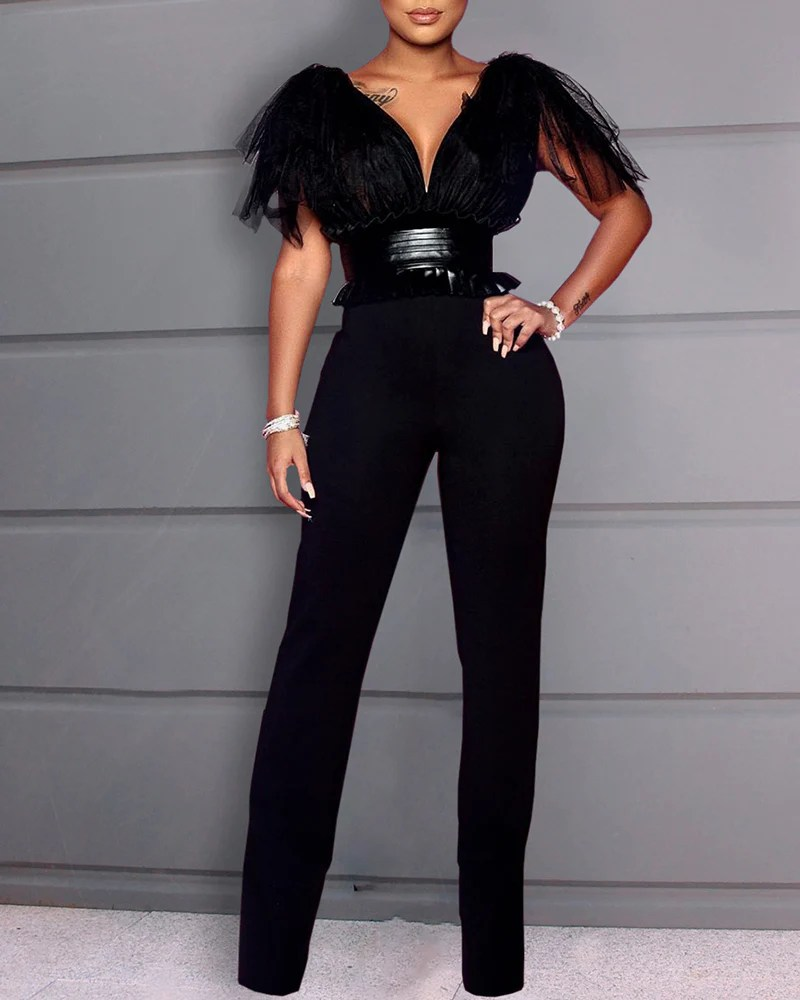 Patchwork Mesh Tight Waist Backless Jumpsuit 12