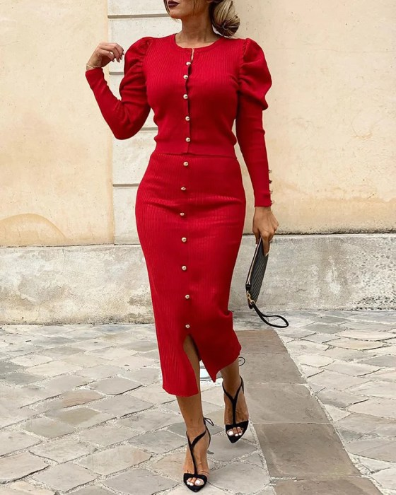 Solid Buttoned Puff Sleeve Top & Slit Skirt Sets 3