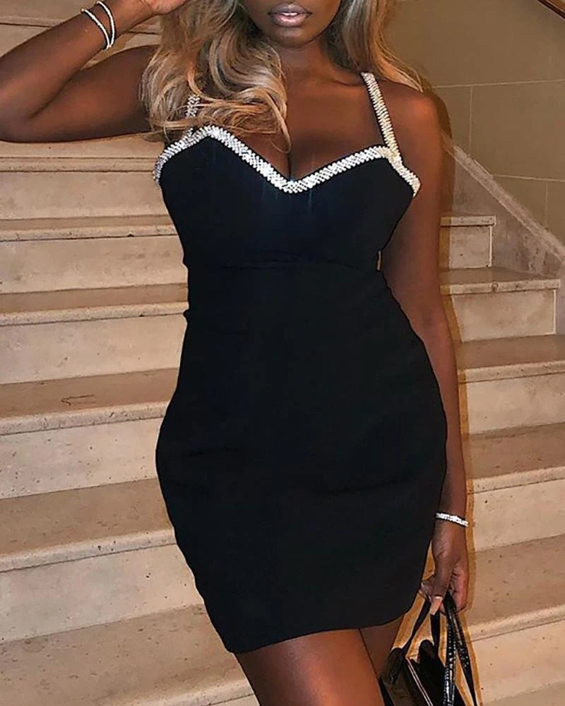 Spaghetti Strap Studed Bodycon Dress