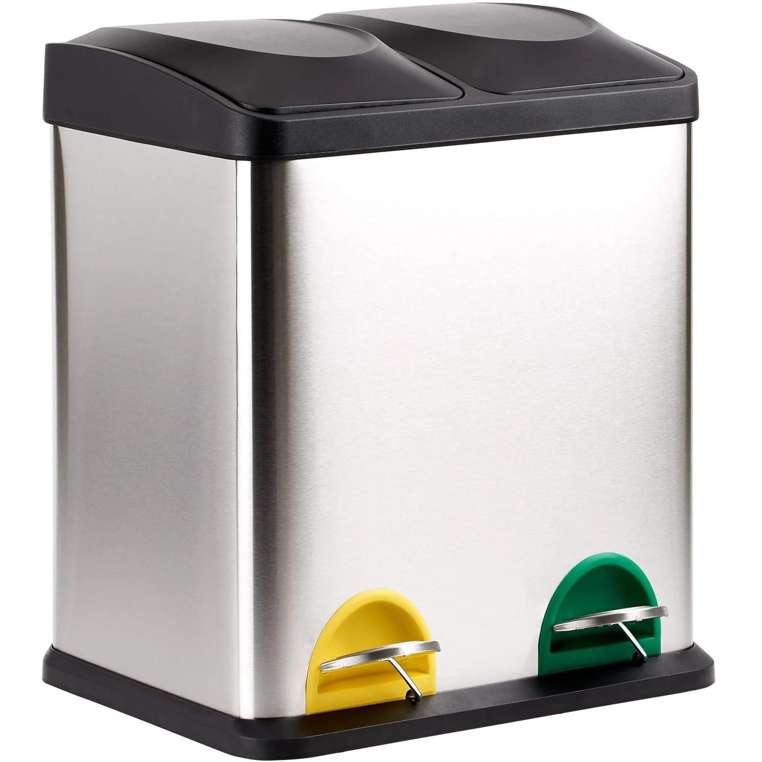 poubelle de cuisine a pedale tri selectif 40l 2x20l zoe en acier inox avec seau
