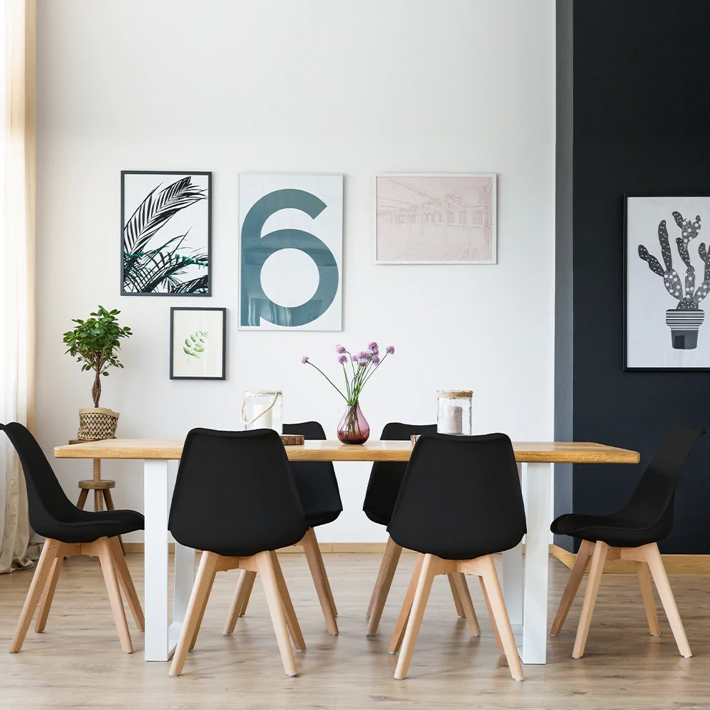 lot de 4 chaises de salle a manger scandinaves pieds bois hetre lagom assise simili cuir noir