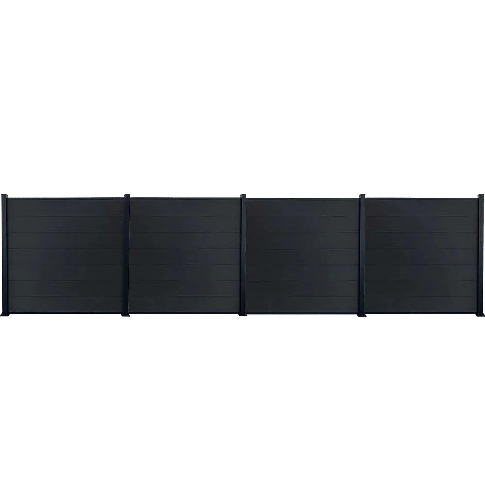 kit cloture jardin panneaux occultant en bois composite et aluminium set de base 3 extensions longueur 7 55m