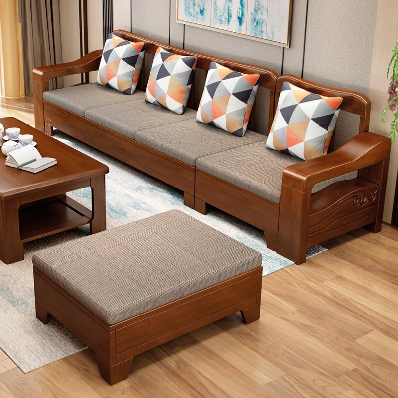 Chinese solid wood sofa living room furniture corner sofa ...