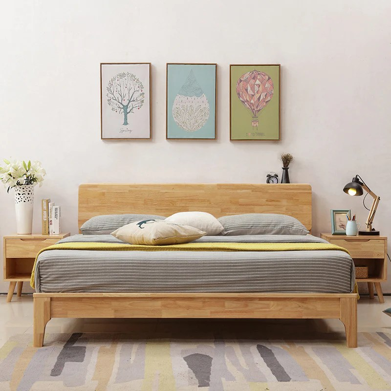 Nordic Wood Bed 1 8 M Double Bedroom Furniture New Chinese Simple Mode Kartzapper Com