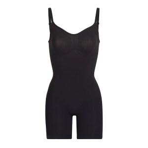 SKIMS Sculpting Bodysuit Mid Thigh W. Open Gusset Shapewear - Black - Size XXS/XS