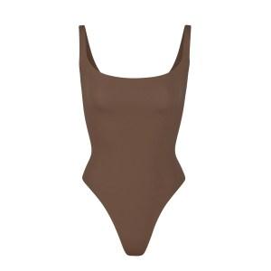 SKIMS Fits Everybody Square Neck Bodysuit - Brown - Size XXS