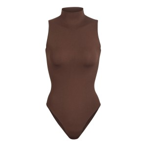 SKIMS Essential Mock Neck Sleeveless Bodysuit - Brown - Size 4XL/5XL