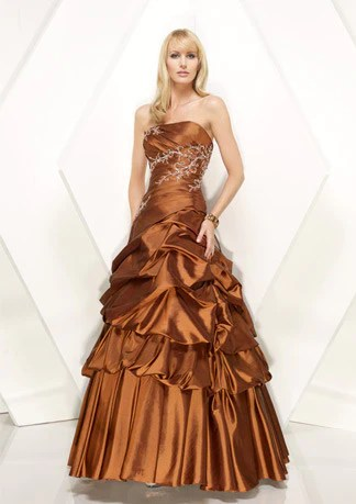Copper Brown Strapless ALine Prom Formal Home Coming
