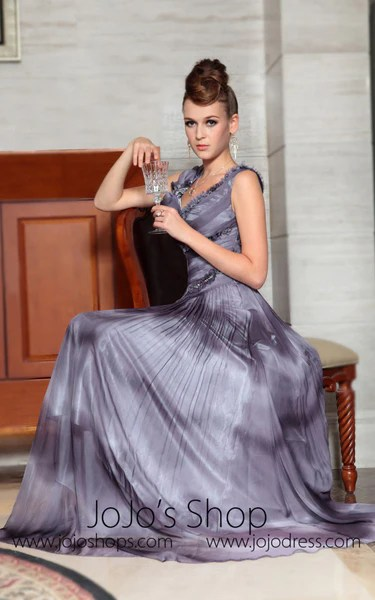 Grecian V Neck Formal Prom Evening Dress  JoJo Shop