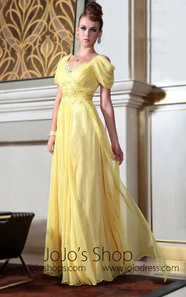Yellow Off Shoulder Princess Regency Style Evening Dress