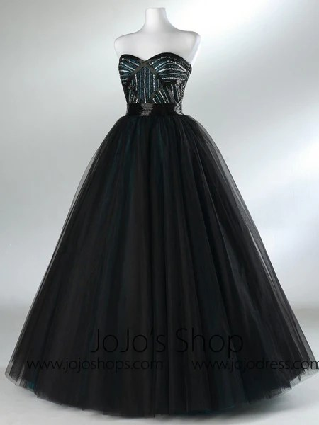 Black Strapless Tulle Formal Prom Ball Gown Dress HB2020A  JoJo Shop