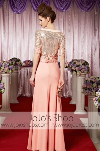 Peach Pink Modest Long Sleeves Shimmery Elegant Prom