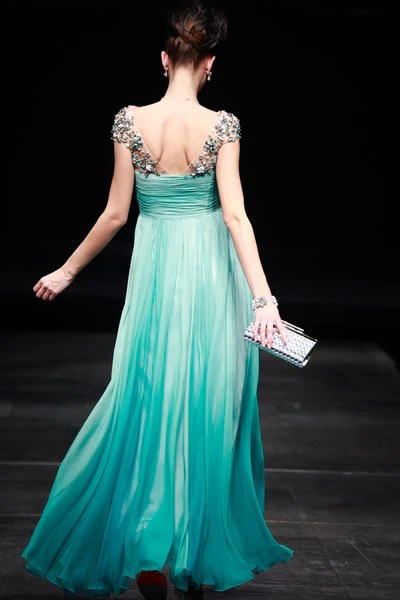 Regency Style Green Cap Sleeves Prom Pageant Evening Gown SA880639  JoJo Shop