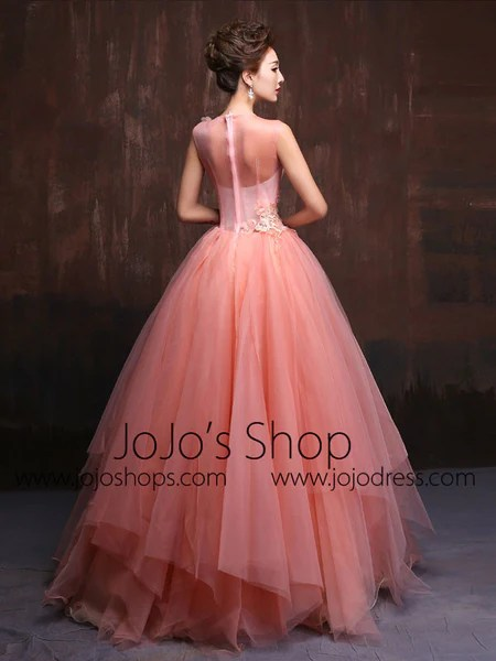 Whimsical Modest Blush Pink Fairy Tale Quinceanera Ball Gown X016  JoJo Shop