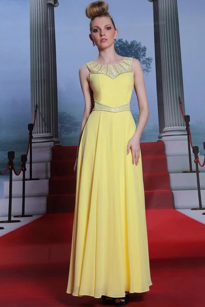 Yellow Modest Grecian Formal Prom Evening Dress with Sequins  JoJo Shop