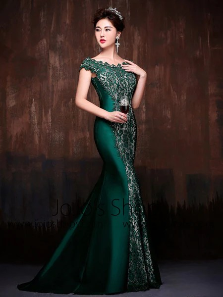 Forest Green Elegant Mermaid Fitted Lace Formal Evening Prom Dress wit  JoJo Shop
