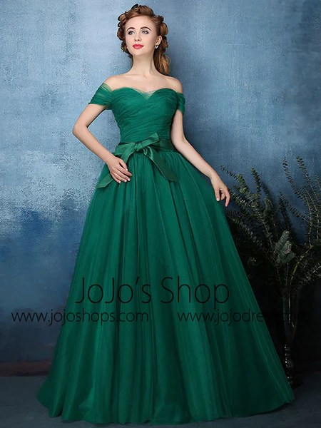 Forest Green Off Shoulder Tulle Ball Gown Formal Dress