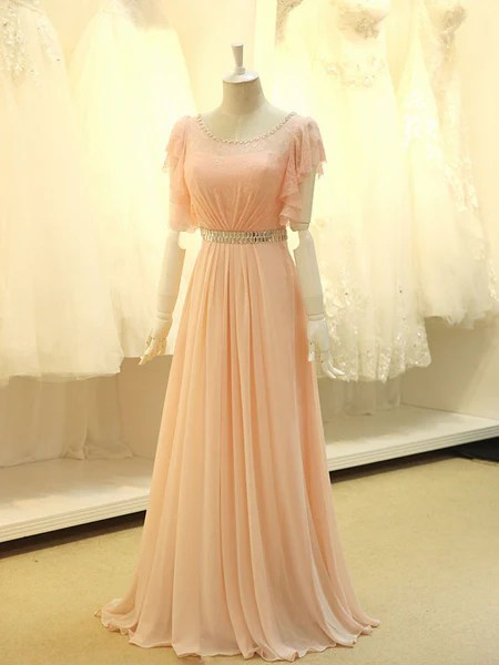Modest Blush Pink Formal Pageant Evening Dress with
