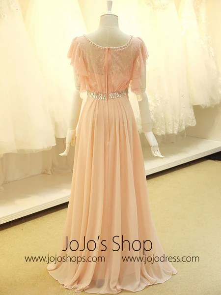 Modest Blush Pink Formal Pageant Evening Dress with Sleeves  JoJo Shop